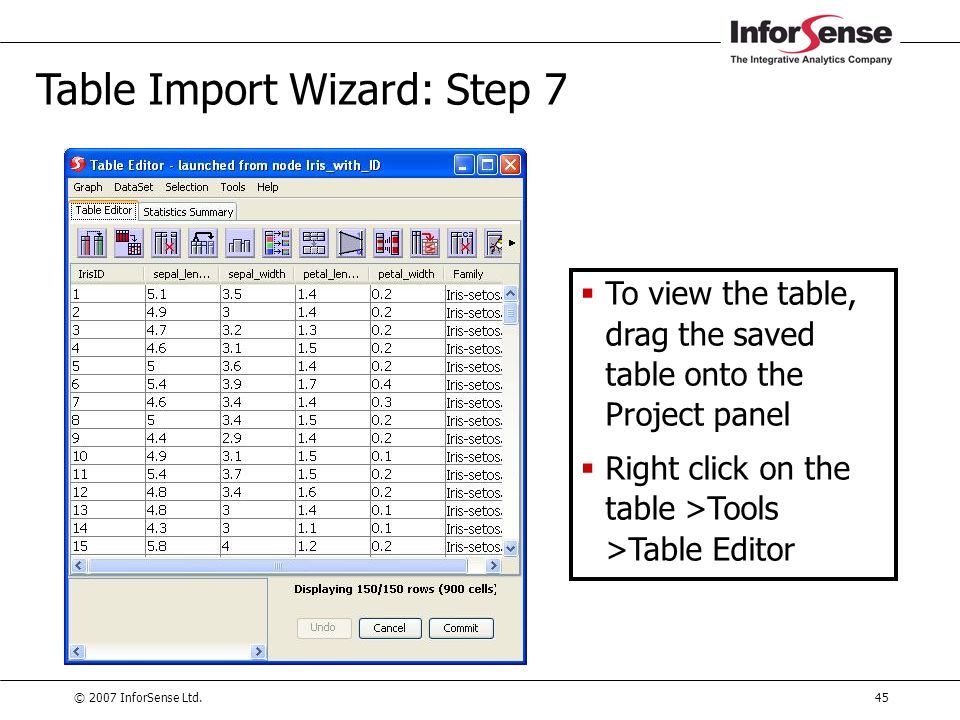 Table Import Wizard: Step 7