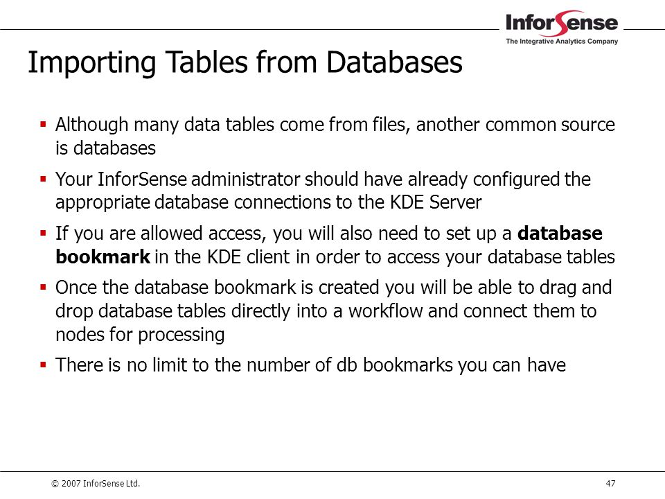 Importing Tables from Databases