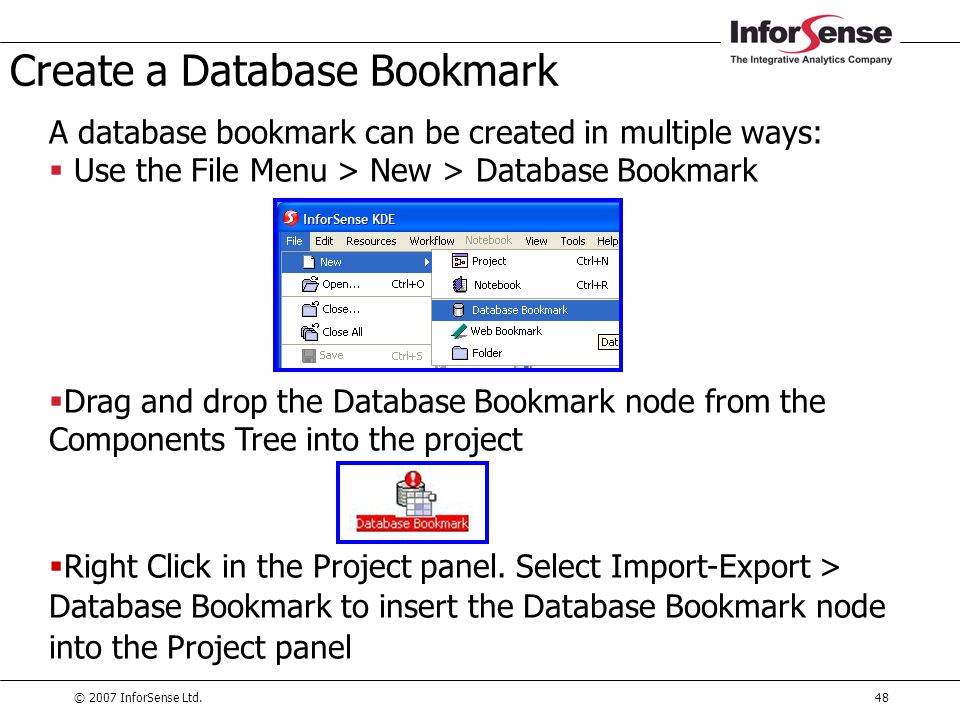 Create a Database Bookmark