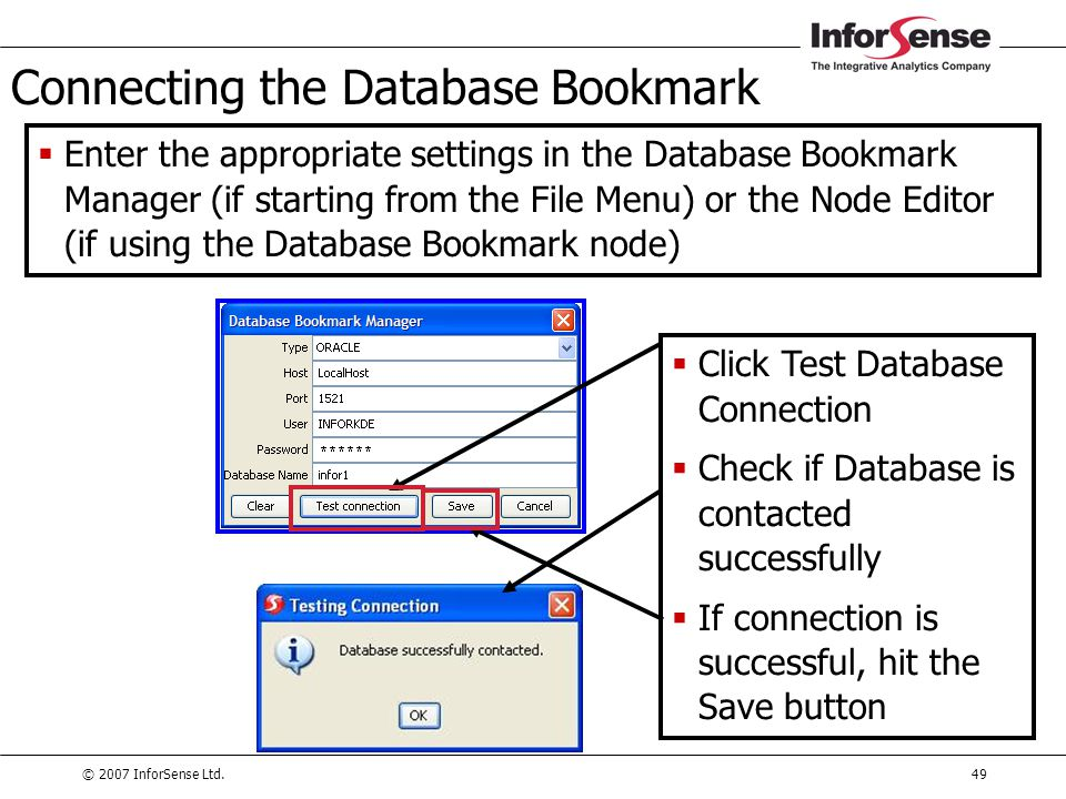 Connecting the Database Bookmark
