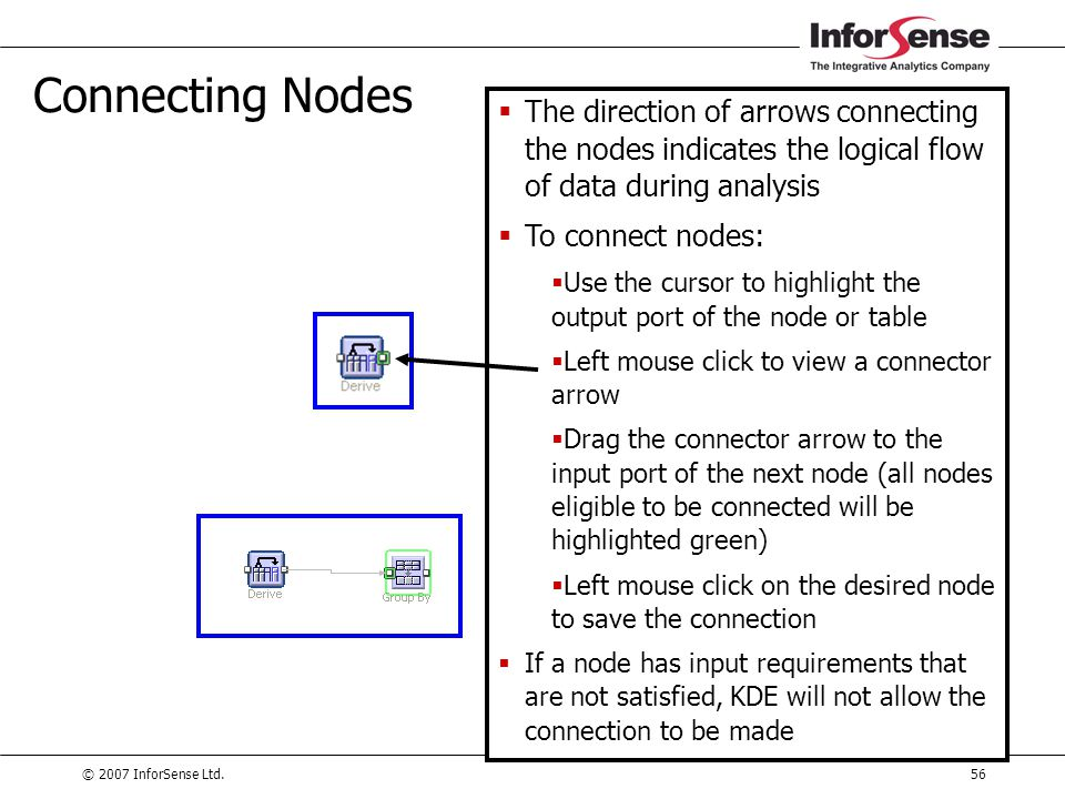 Connecting Nodes The direction of arrows connecting the nodes indicates the logical flow of data during analysis.
