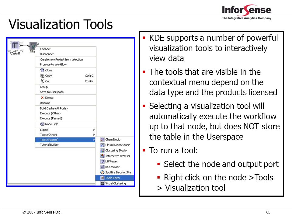 Visualization Tools KDE supports a number of powerful visualization tools to interactively view data.