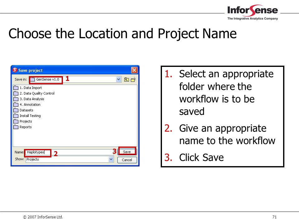 Choose the Location and Project Name