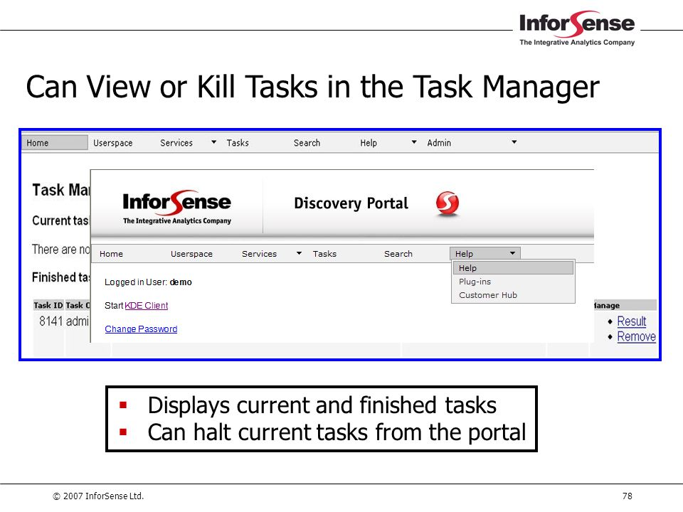 Can View or Kill Tasks in the Task Manager