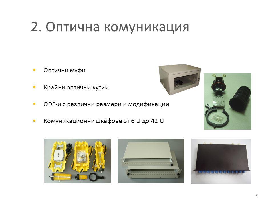 2. Оптична комуникация Оптични муфи Крайни оптични кутии