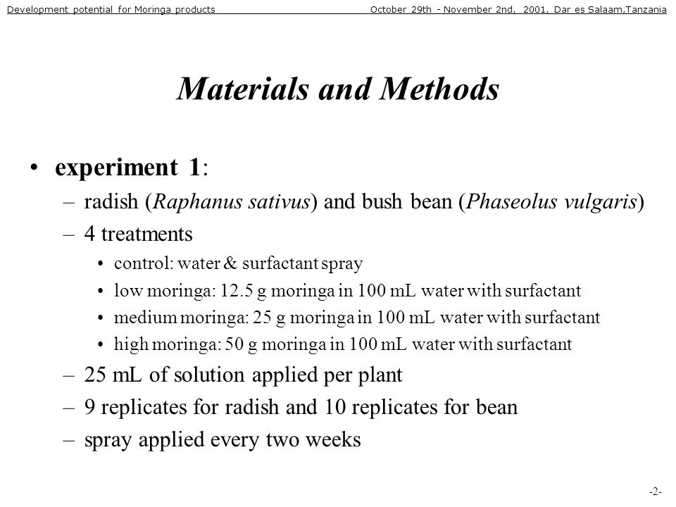 Materials and Methods experiment 1: