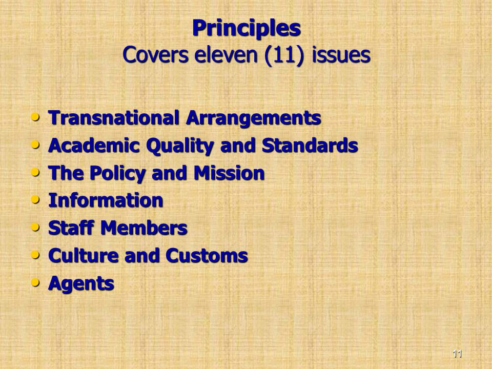 Principles Covers eleven (11) issues