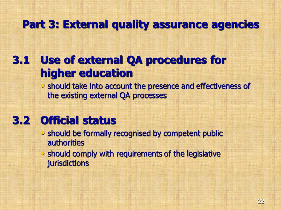 Part 3: External quality assurance agencies