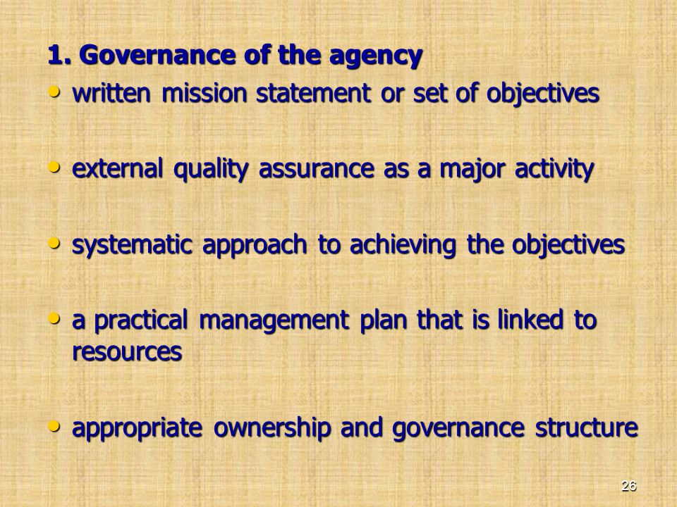 1. Governance of the agency