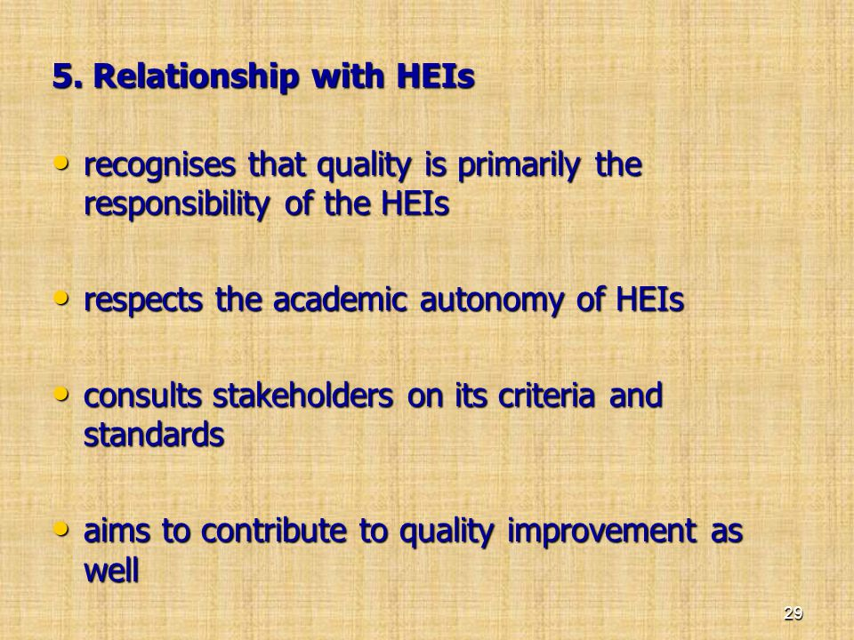 5. Relationship with HEIs