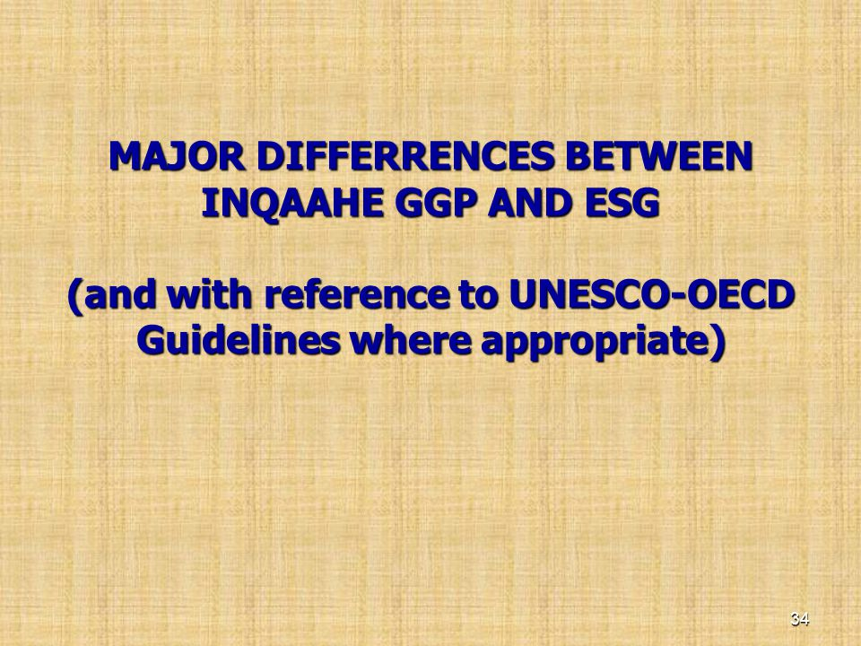 MAJOR DIFFERRENCES BETWEEN INQAAHE GGP AND ESG (and with reference to UNESCO-OECD Guidelines where appropriate)