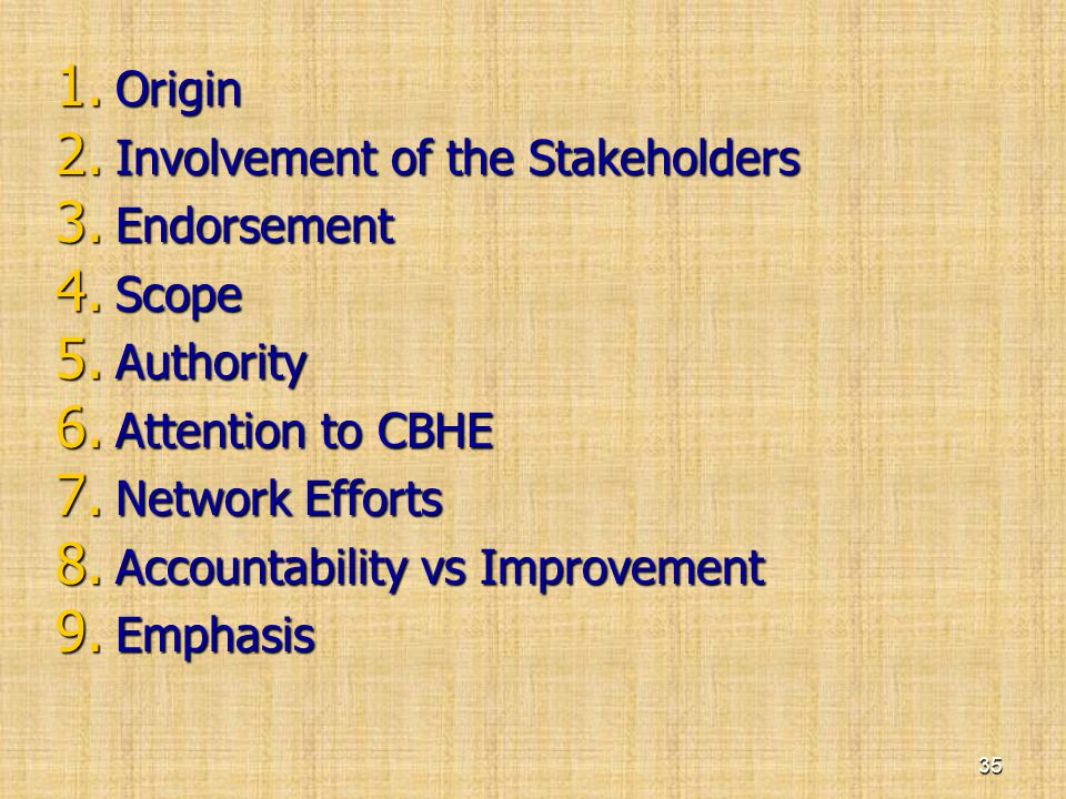 Origin Involvement of the Stakeholders. Endorsement. Scope. Authority. Attention to CBHE. Network Efforts.