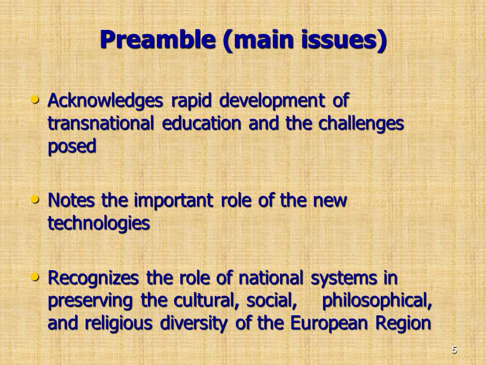 Preamble (main issues)
