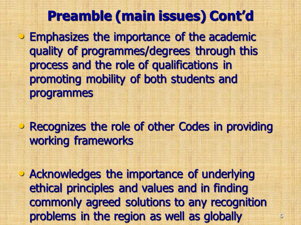 Preamble (main issues) Cont'd