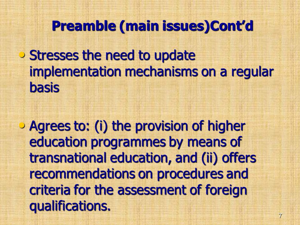 Preamble (main issues)Cont'd