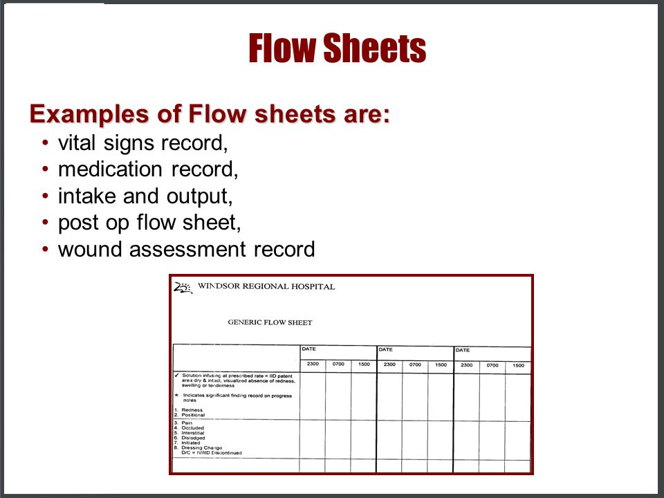 Flow Sheets Examples of Flow sheets are: vital signs record,
