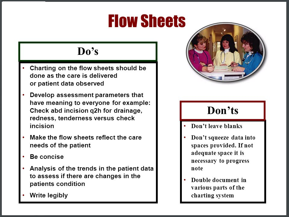 Flow Sheets Do's Don'ts