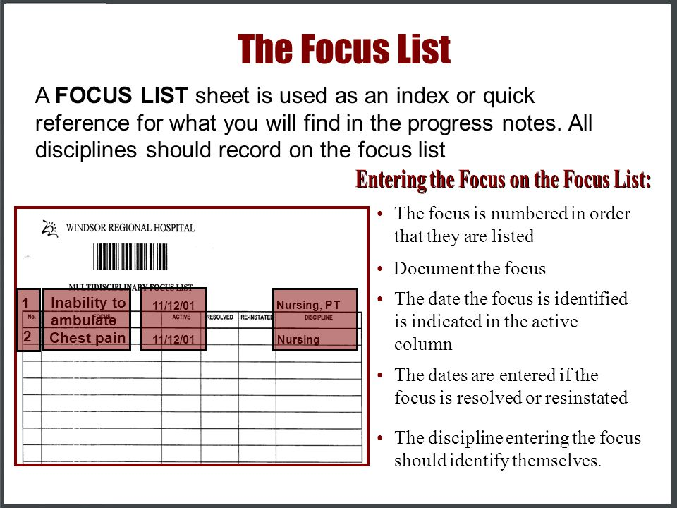 Entering the Focus on the Focus List: