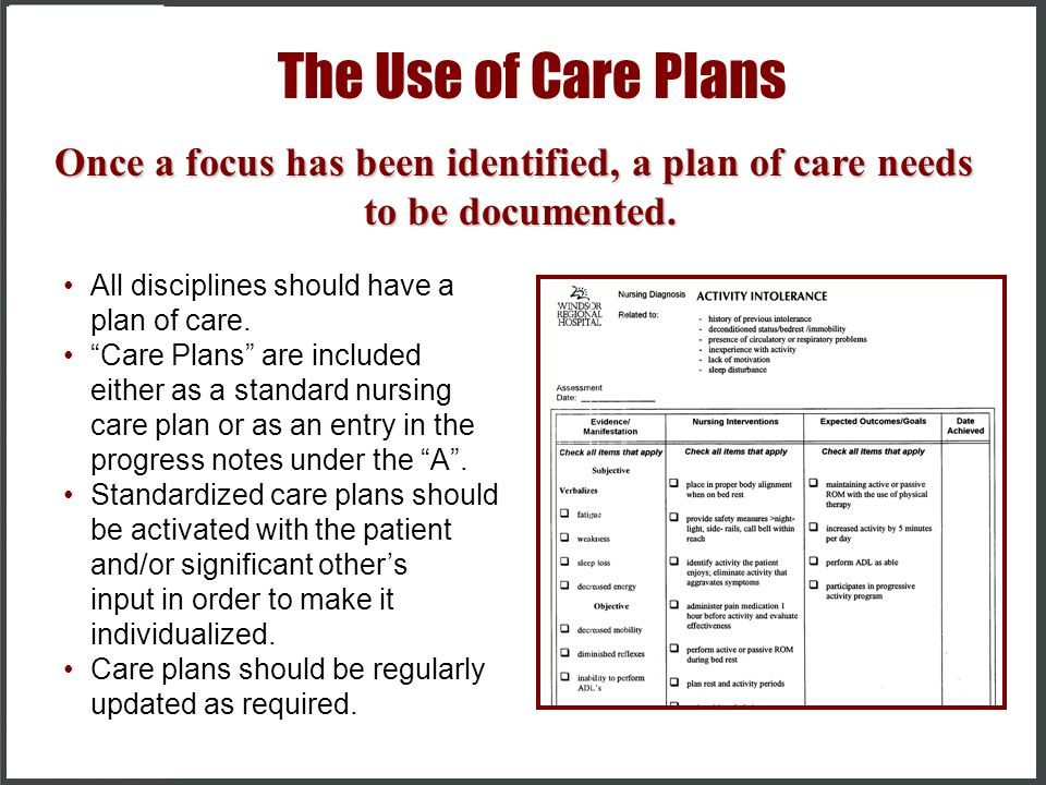 Once a focus has been identified, a plan of care needs