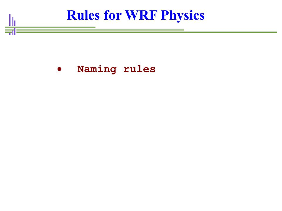 Rules for WRF Physics Naming rules