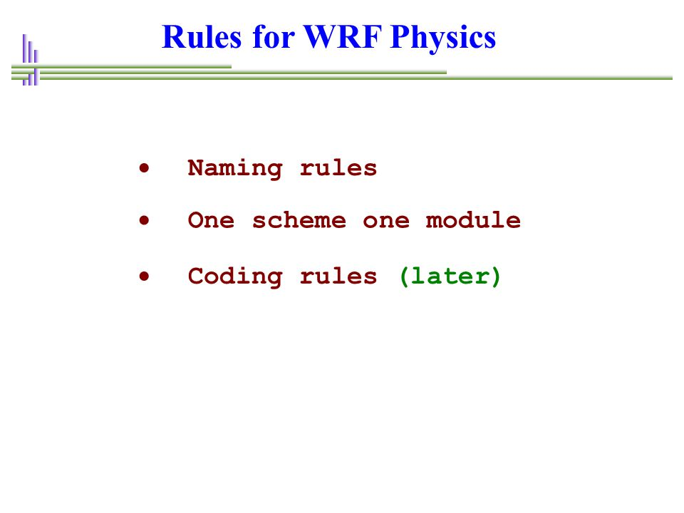 Rules for WRF Physics Naming rules One scheme one module