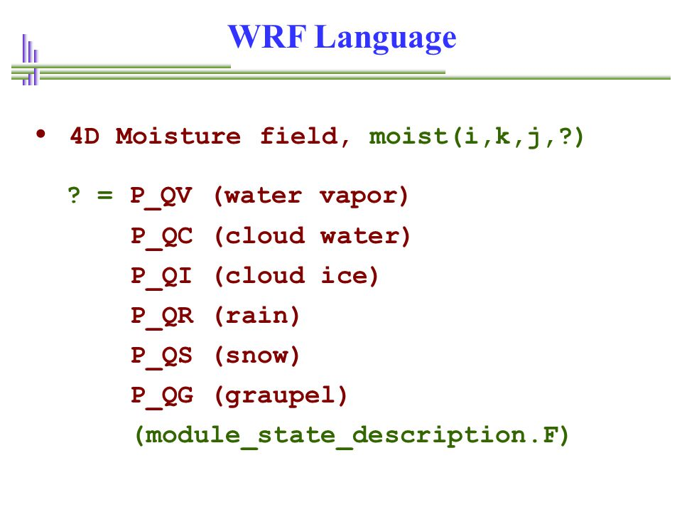 WRF Language • 4D Moisture field, moist(i,k,j, )