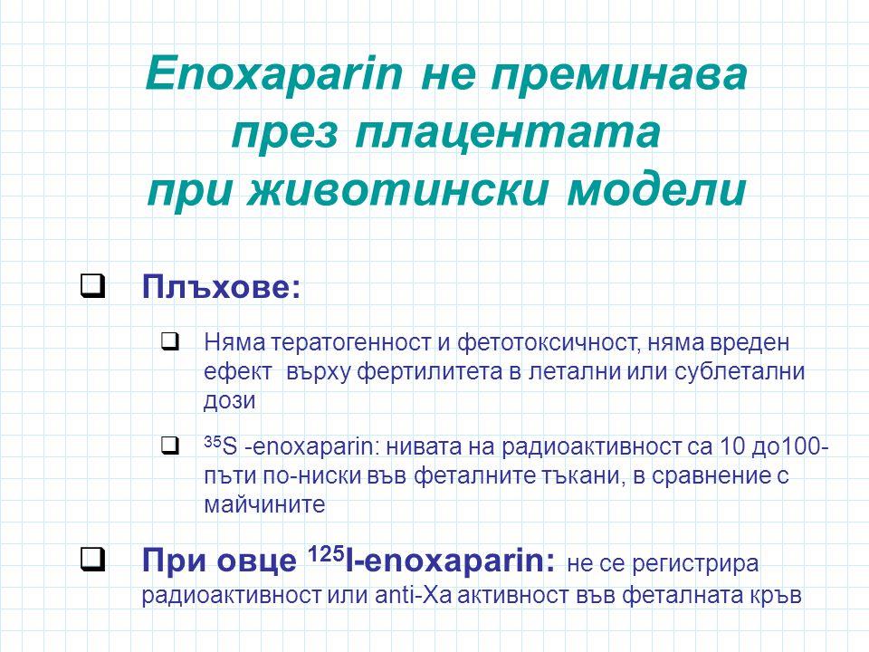 Enoxaparin не преминава през плацентата при животински модели