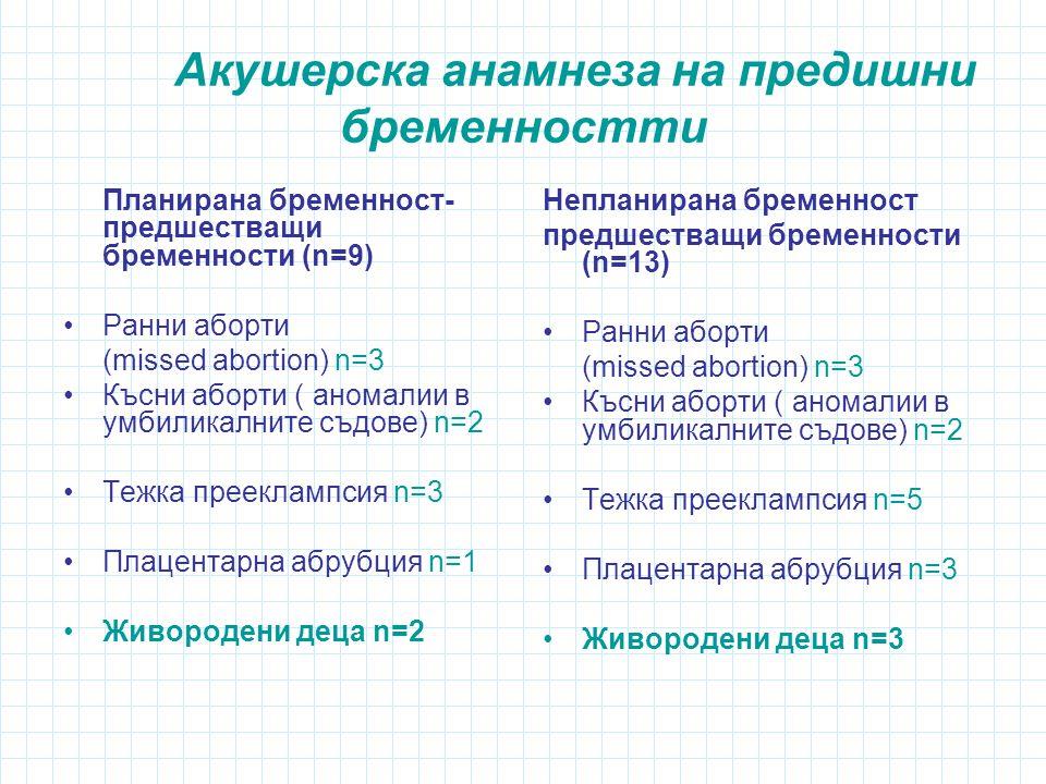Акушерска анамнеза на предишни бременностти