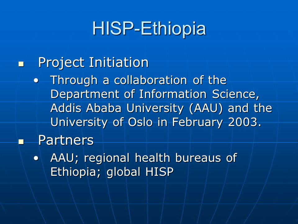 HISP-Ethiopia Project Initiation Partners