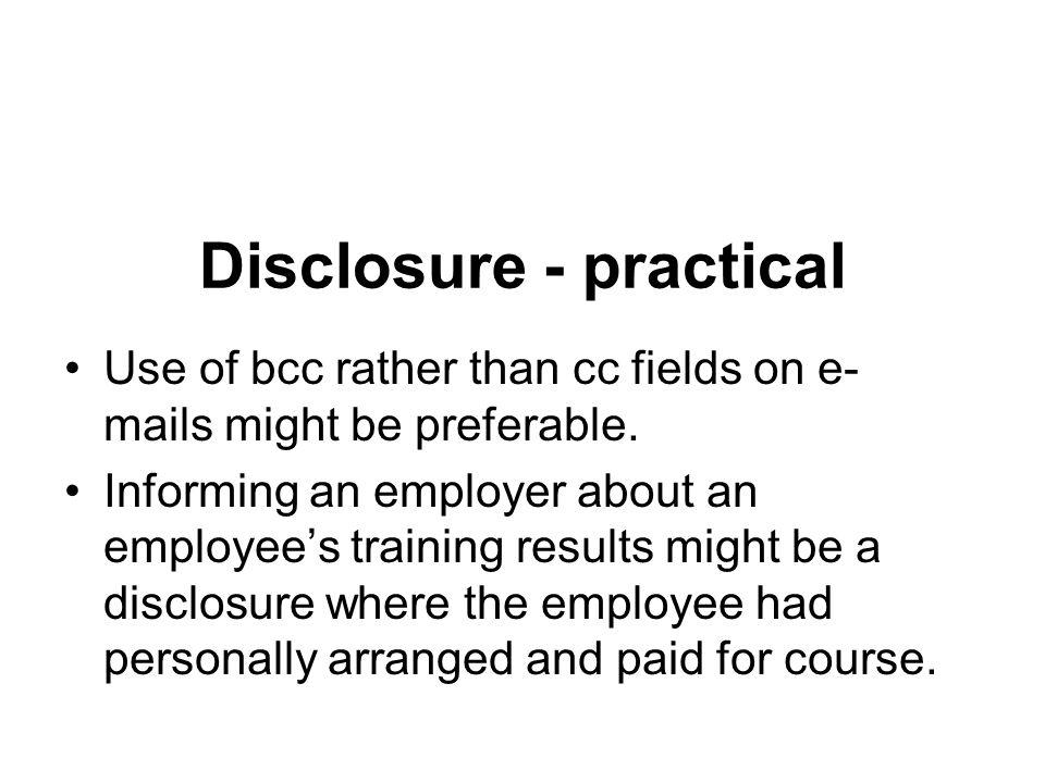 Disclosure - practical