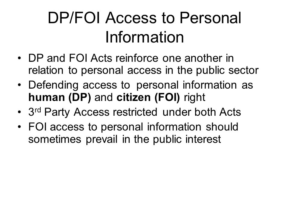 DP/FOI Access to Personal Information