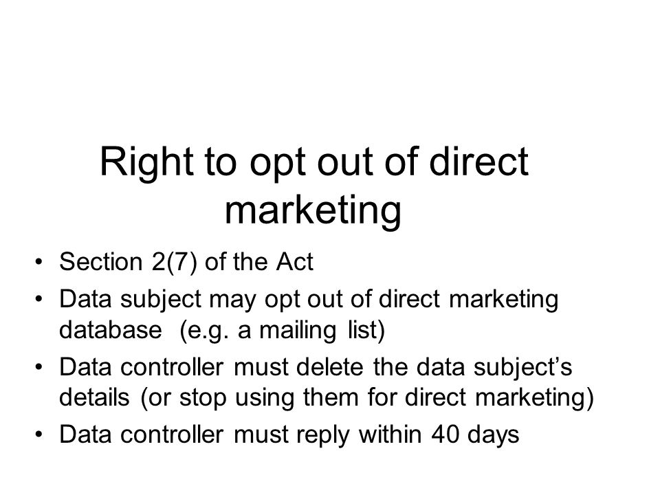 Right to opt out of direct marketing