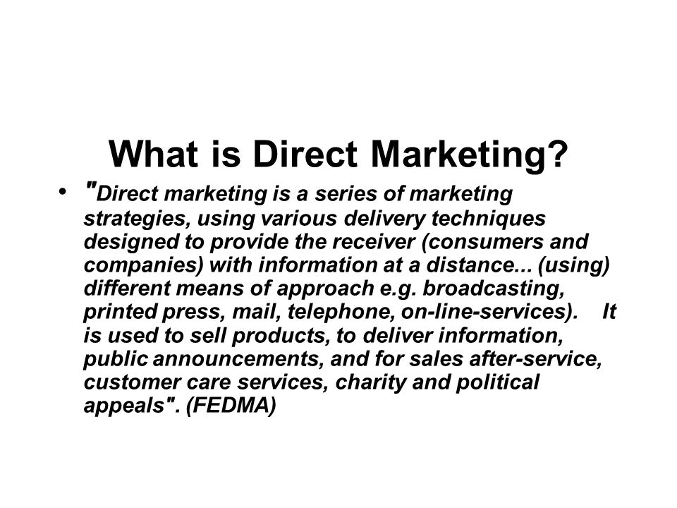 What is Direct Marketing