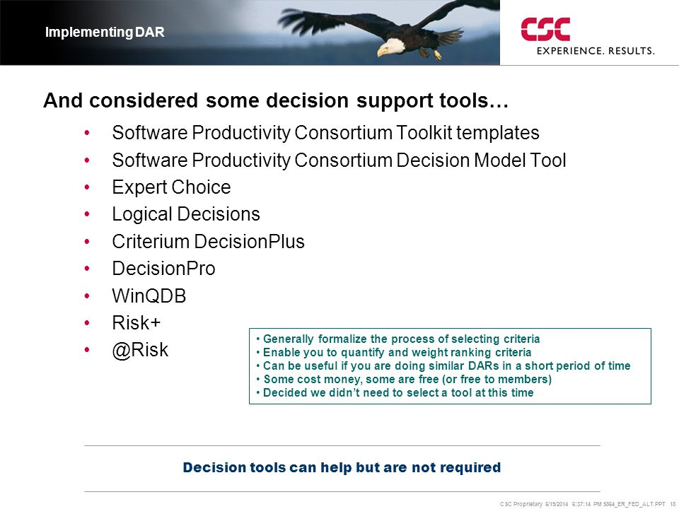 And considered some decision support tools…