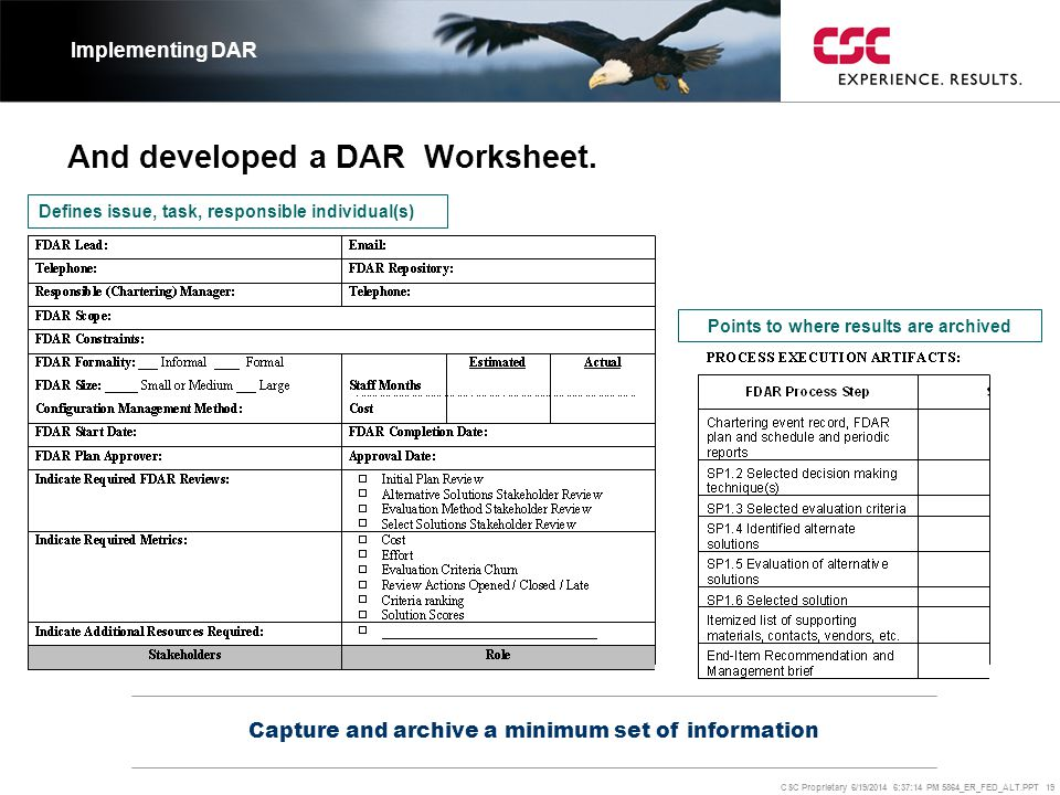 And developed a DAR Worksheet.