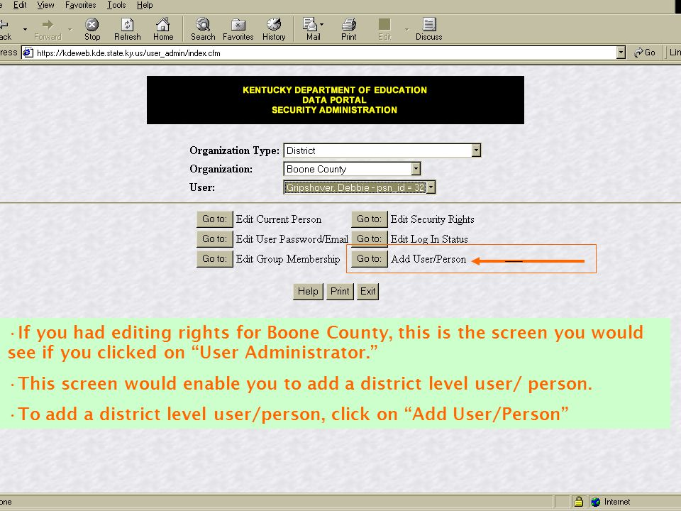 If you had editing rights for Boone County, this is the screen you would see if you clicked on User Administrator.