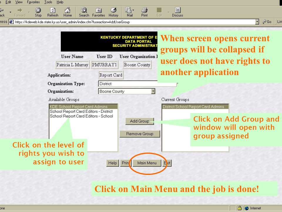 Click on Main Menu and the job is done!