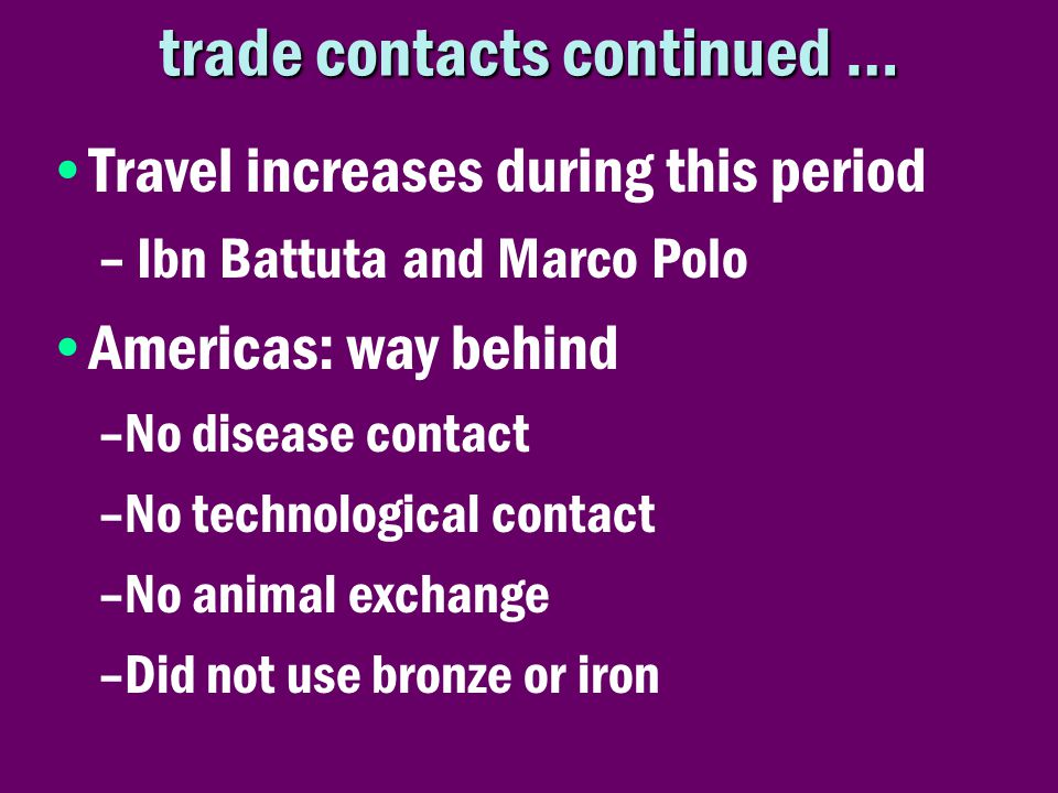 trade contacts continued …