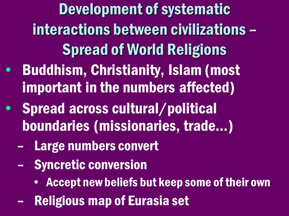Development of systematic interactions between civilizations – Spread of World Religions