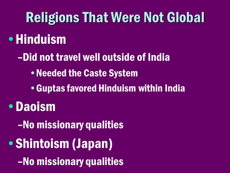 Religions That Were Not Global