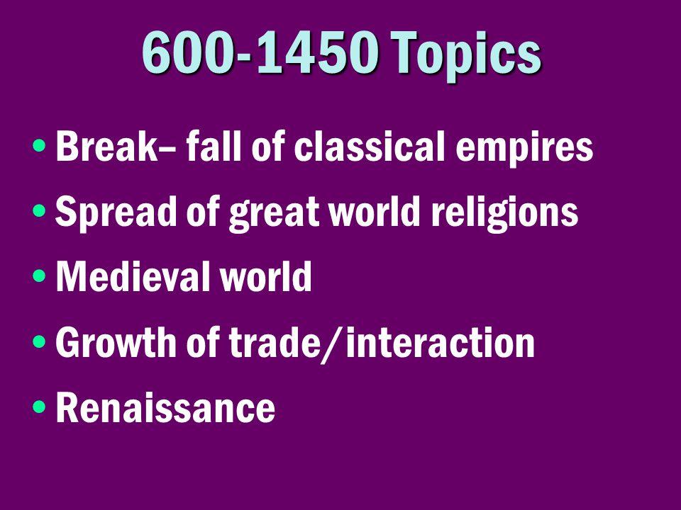 600-1450 Topics Break– fall of classical empires