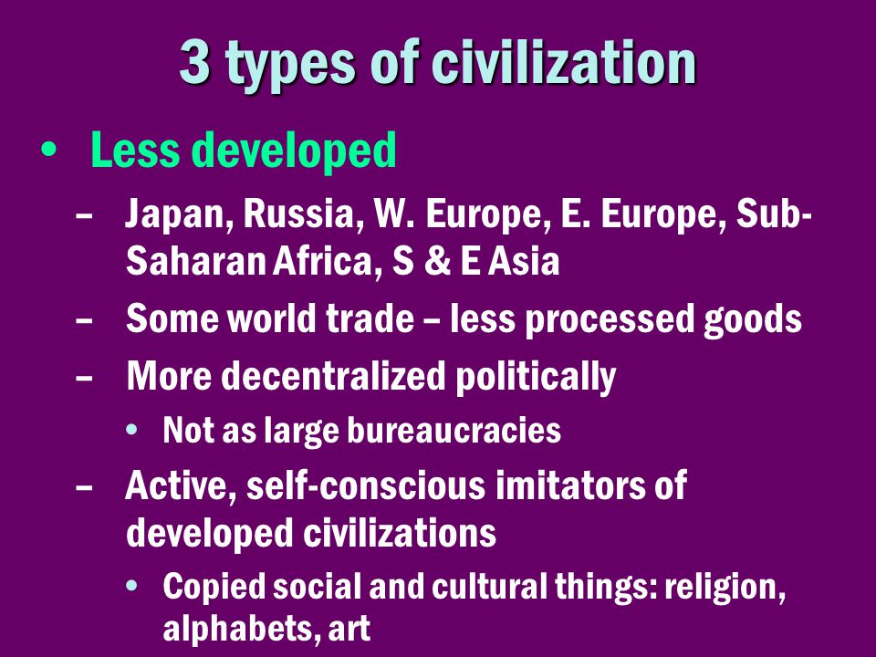 3 types of civilization Less developed