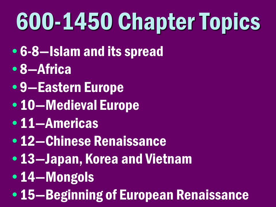 Chapter Topics 6-8—Islam and its spread 8—Africa