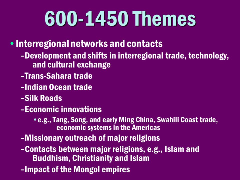 600-1450 Themes Interregional networks and contacts