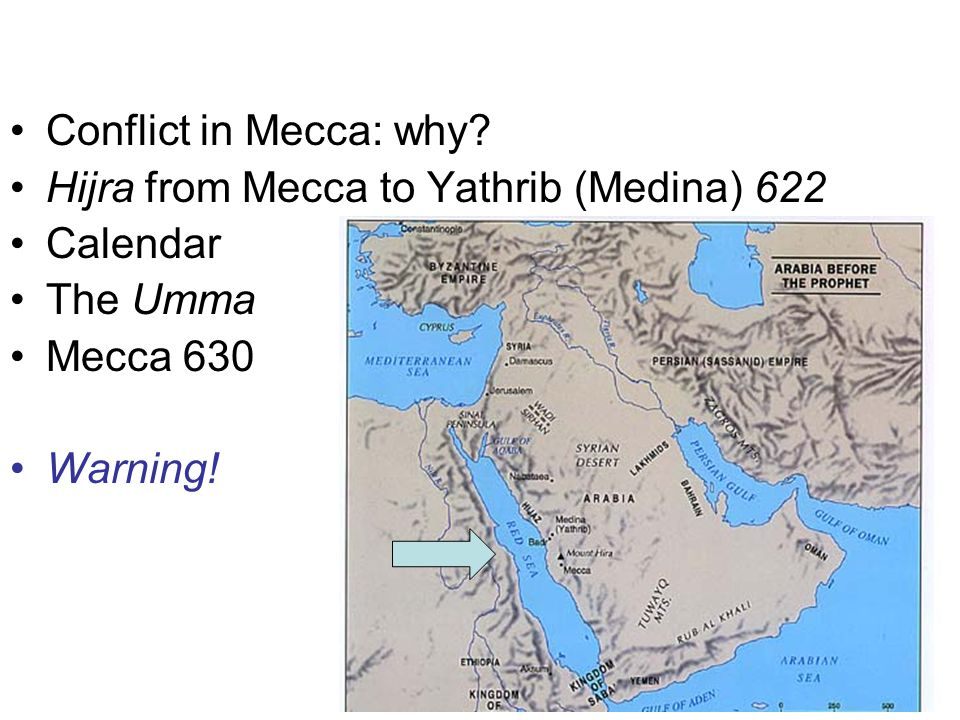 Conflict in Mecca: why Hijra from Mecca to Yathrib (Medina) 622. Calendar. The Umma. Mecca 630.