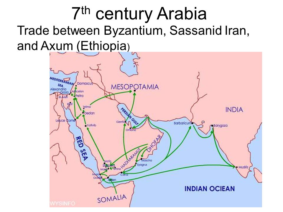 7th century Arabia Trade between Byzantium, Sassanid Iran, and Axum (Ethiopia)