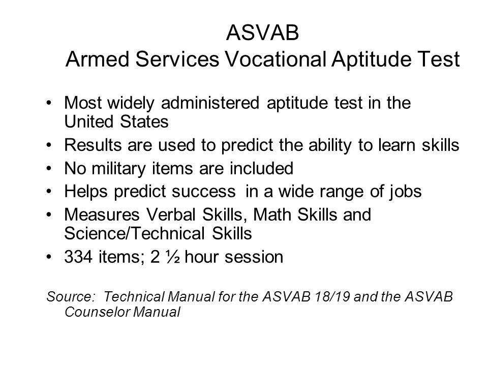 ASVAB Armed Services Vocational Aptitude Test