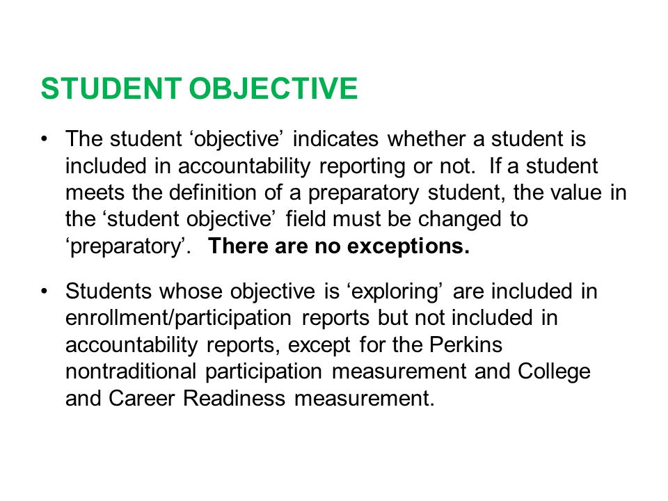 STUDENT OBJECTIVE