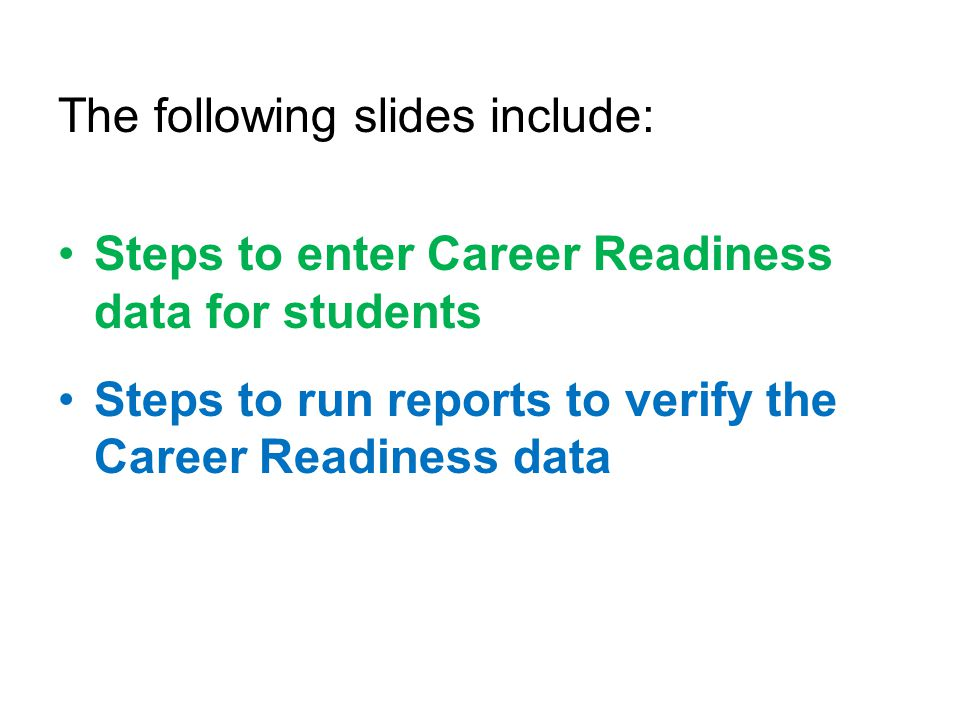 The following slides include: