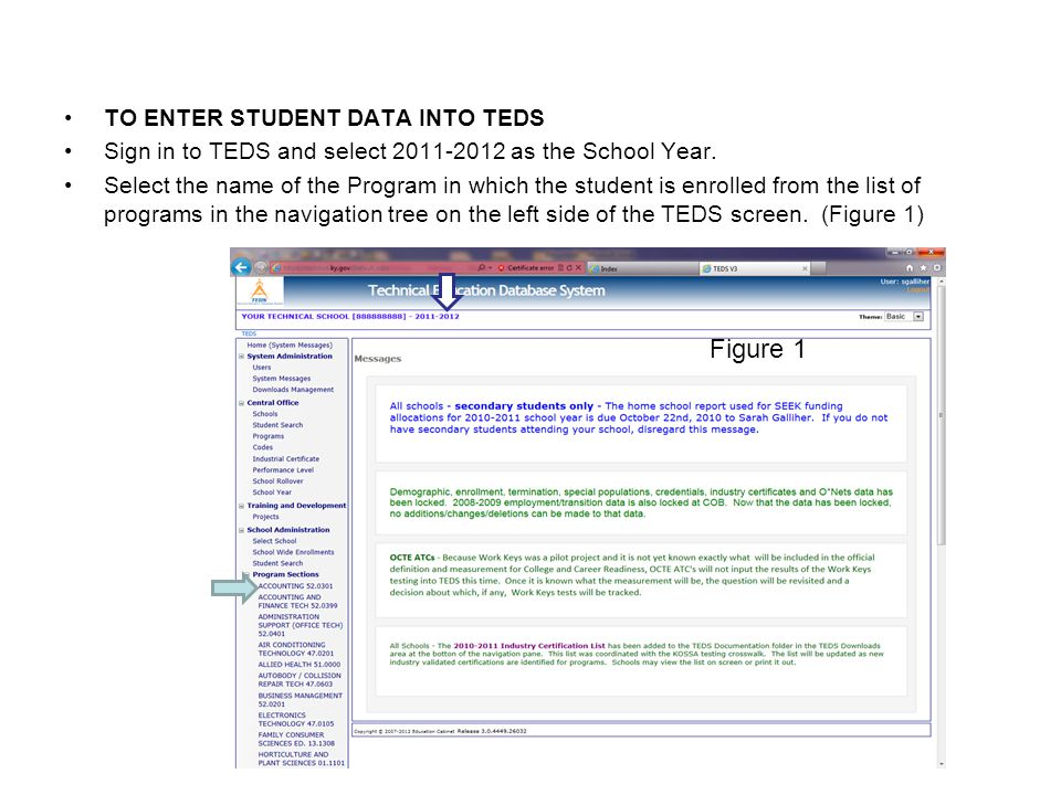 Figure 1 TO ENTER STUDENT DATA INTO TEDS
